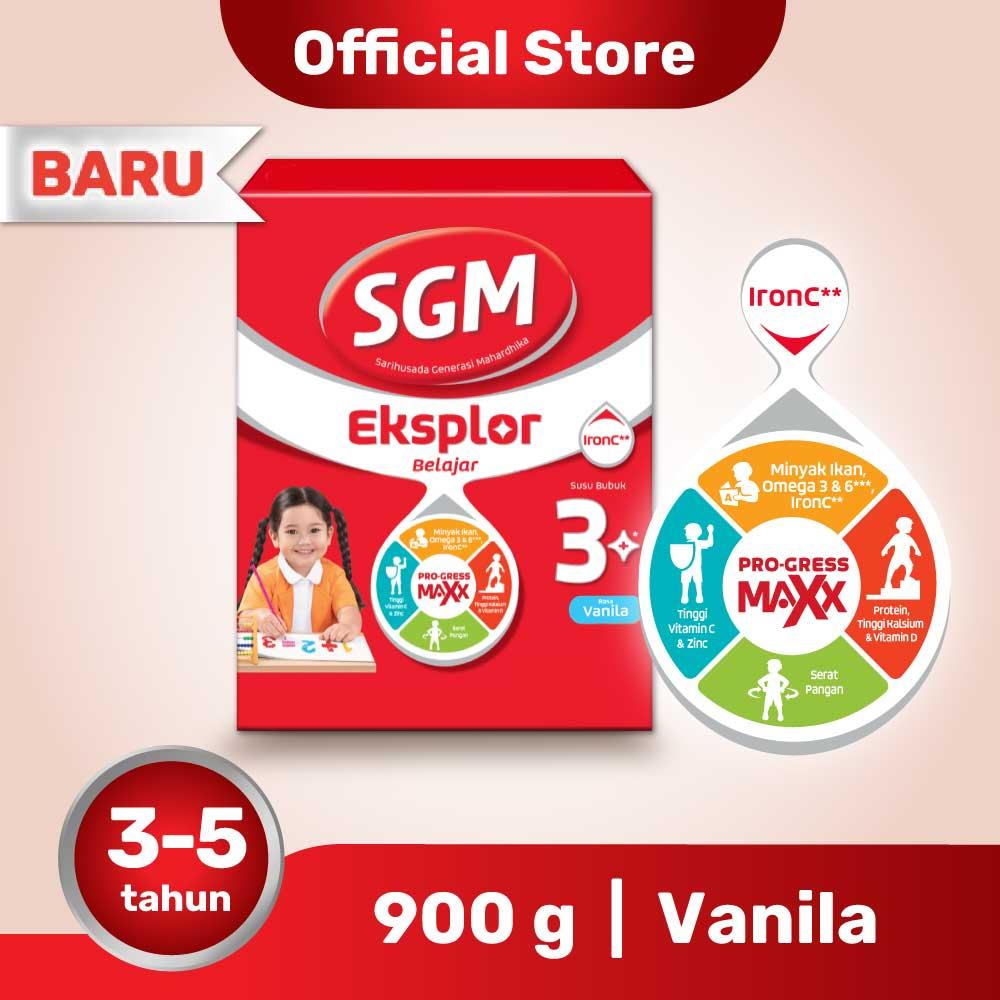 SGM Eksplor Belajar 3+ Pro-GressMaxx Vanilla Susu Bubuk 900GR