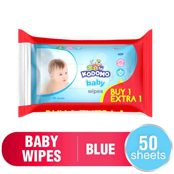 Kodomo Baby Wet Wipes 50 Sheets Classic Blue