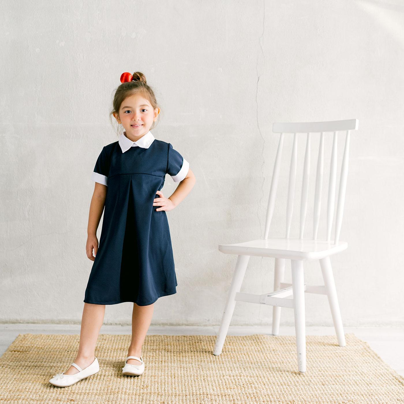 Piccola Annika Collared Dress Navy 3-4Y 1
