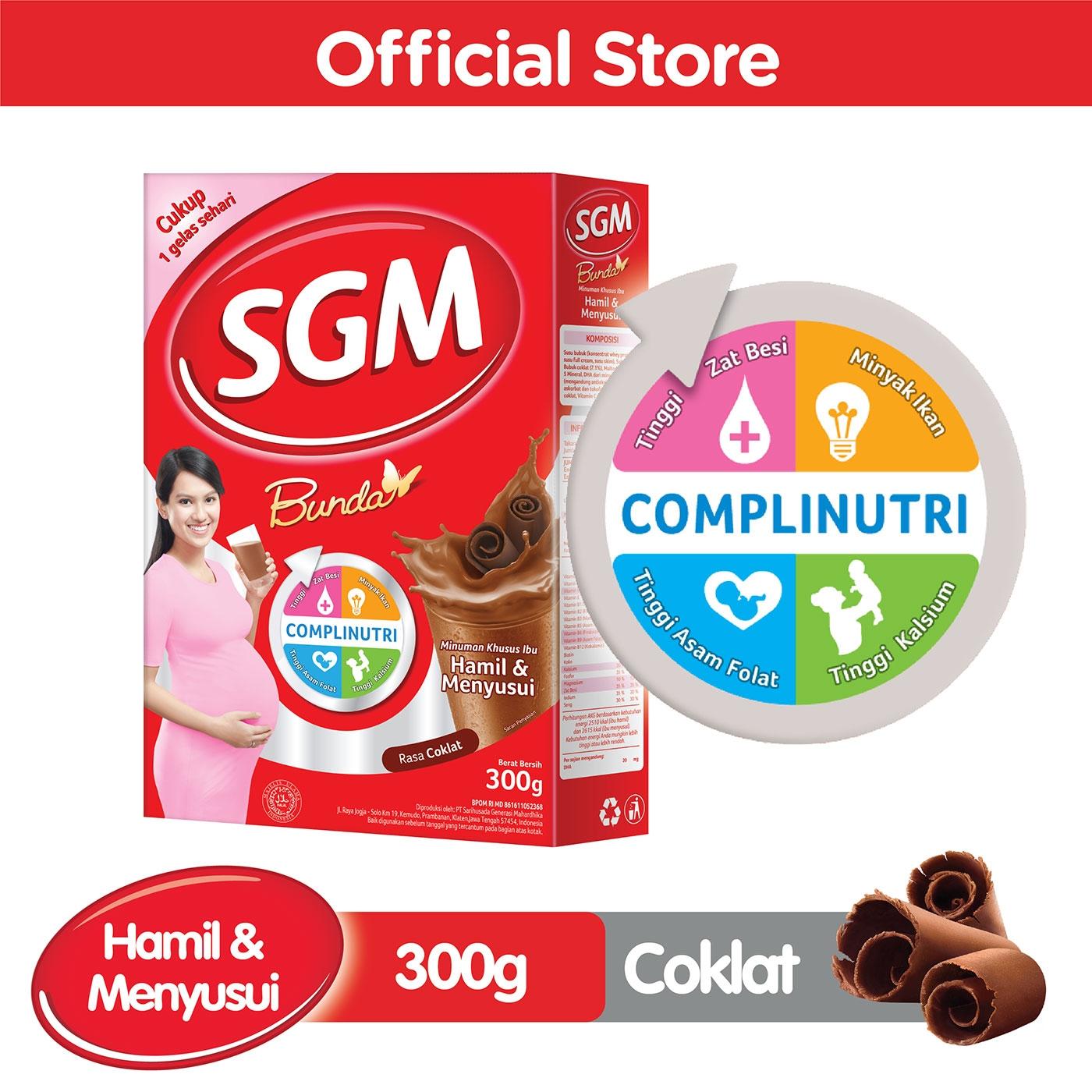 SGM Bunda Complinutri Cokelat Susu Bubuk Khusus Ibu Hamil & Menyusui 300 GR