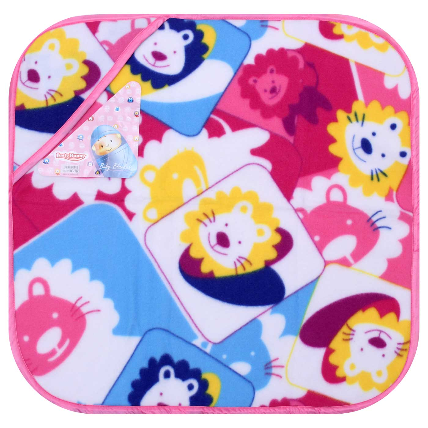 Selimut Fleze Print + Topi Pink Lion