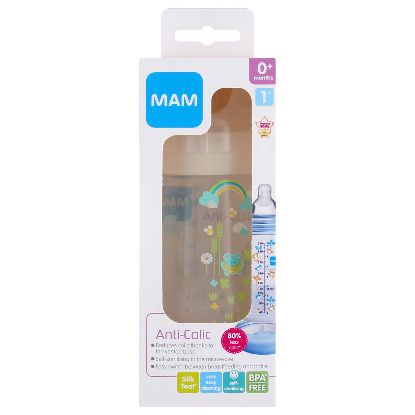 MAM Anti Colic Bottle Ivory 260ml Motif 1