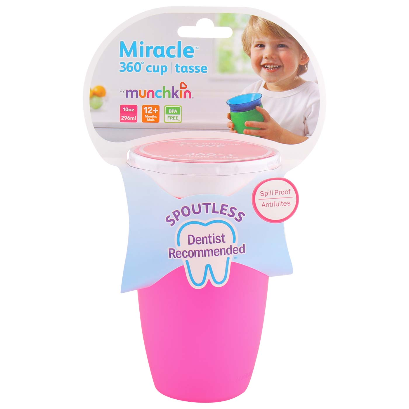 Munchkin Miracle 360 Sippy cup 296ml Pink White