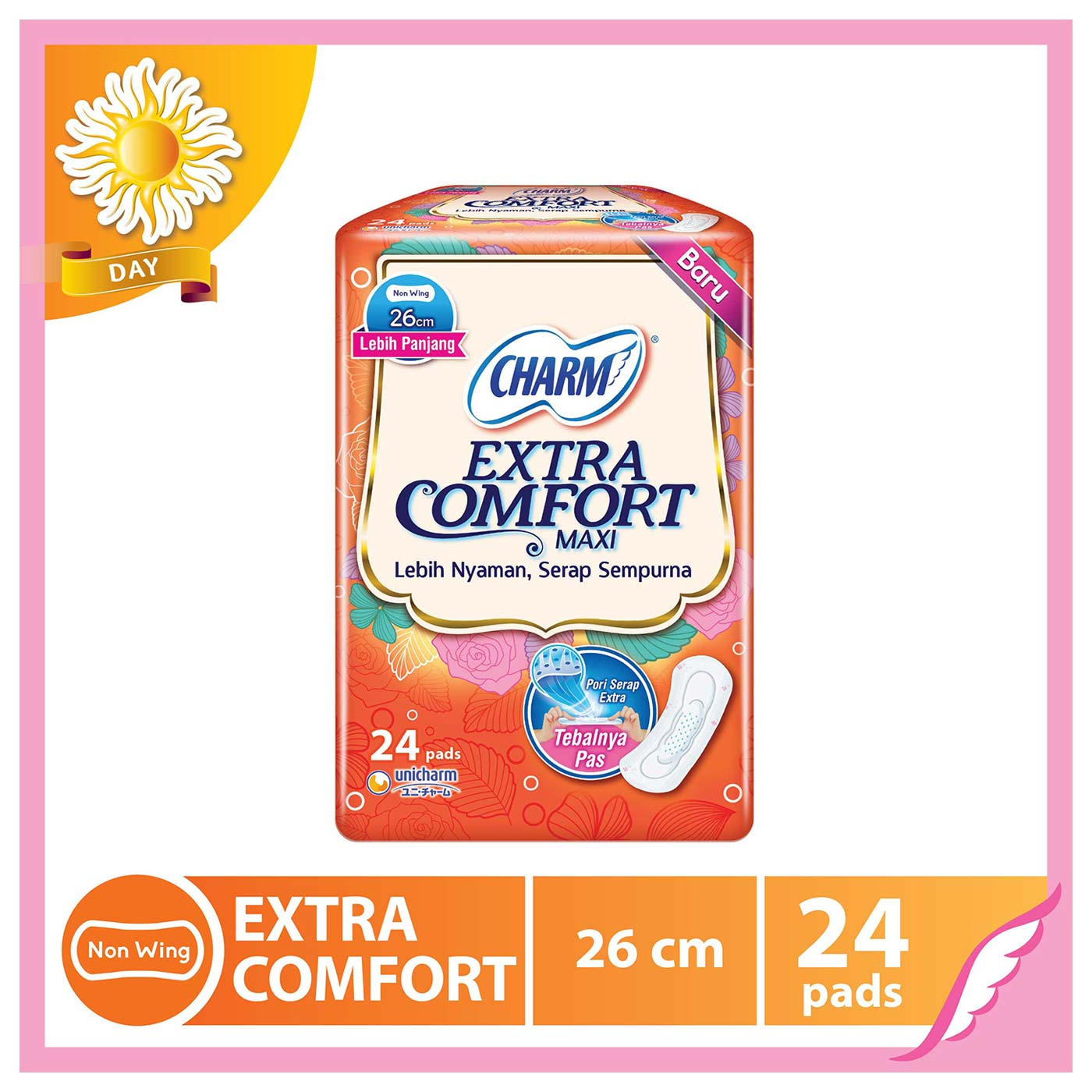 Charm Extra Comfort Maxi NonWing 24P