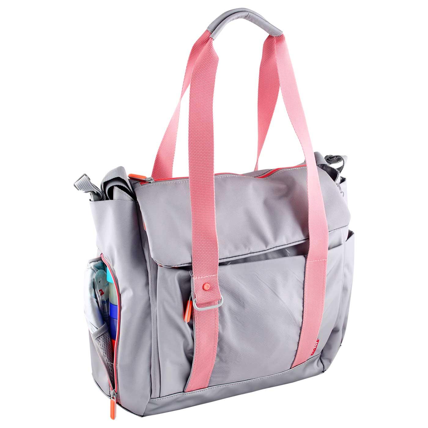 Skiphop Diaper Tote Bag Fit All Access - Platinum/Coral 3