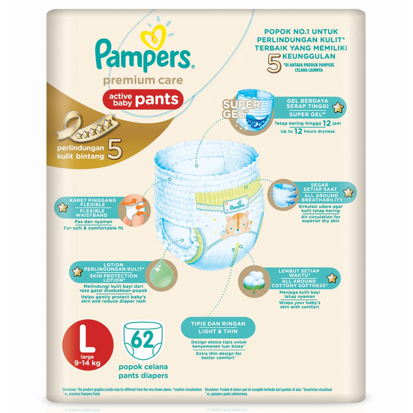 Pampers Popok Celana L-62 Premium Care 2