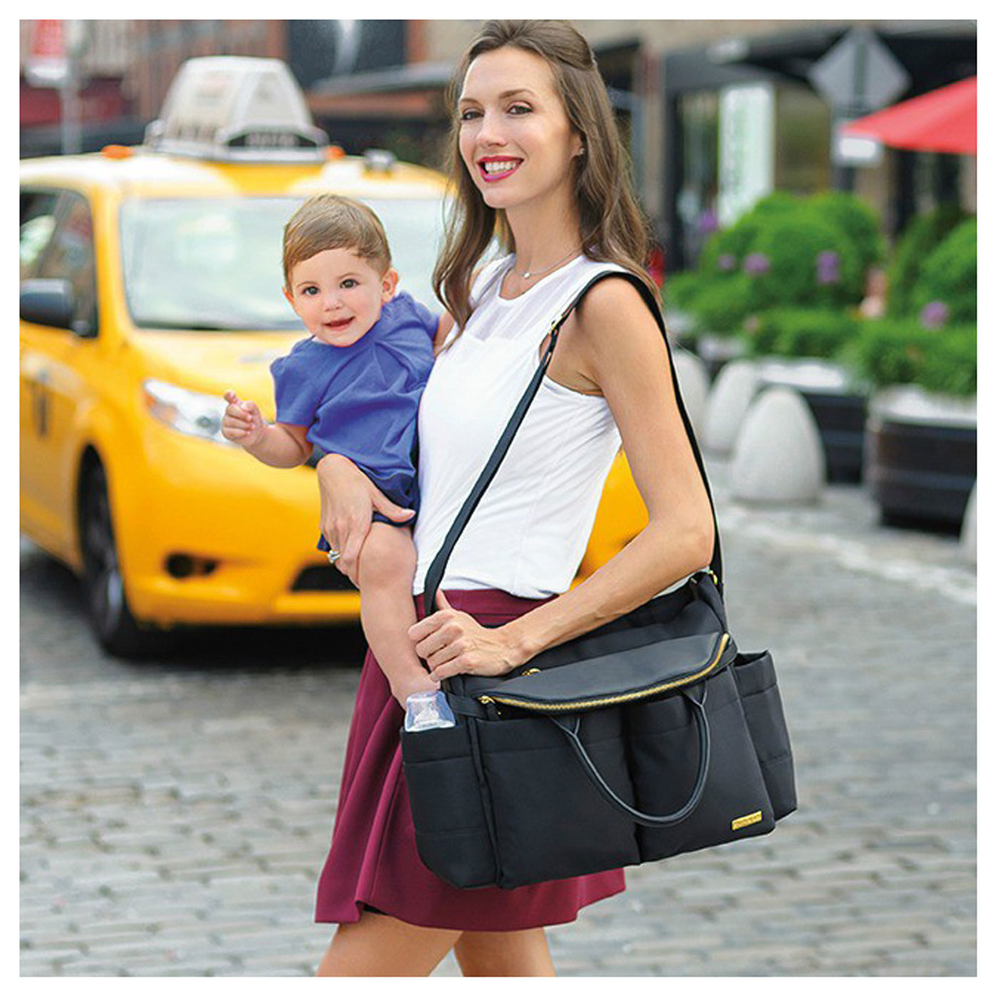 Skiphop Chelsea Downtown Chic Diaper Satchel Black 3