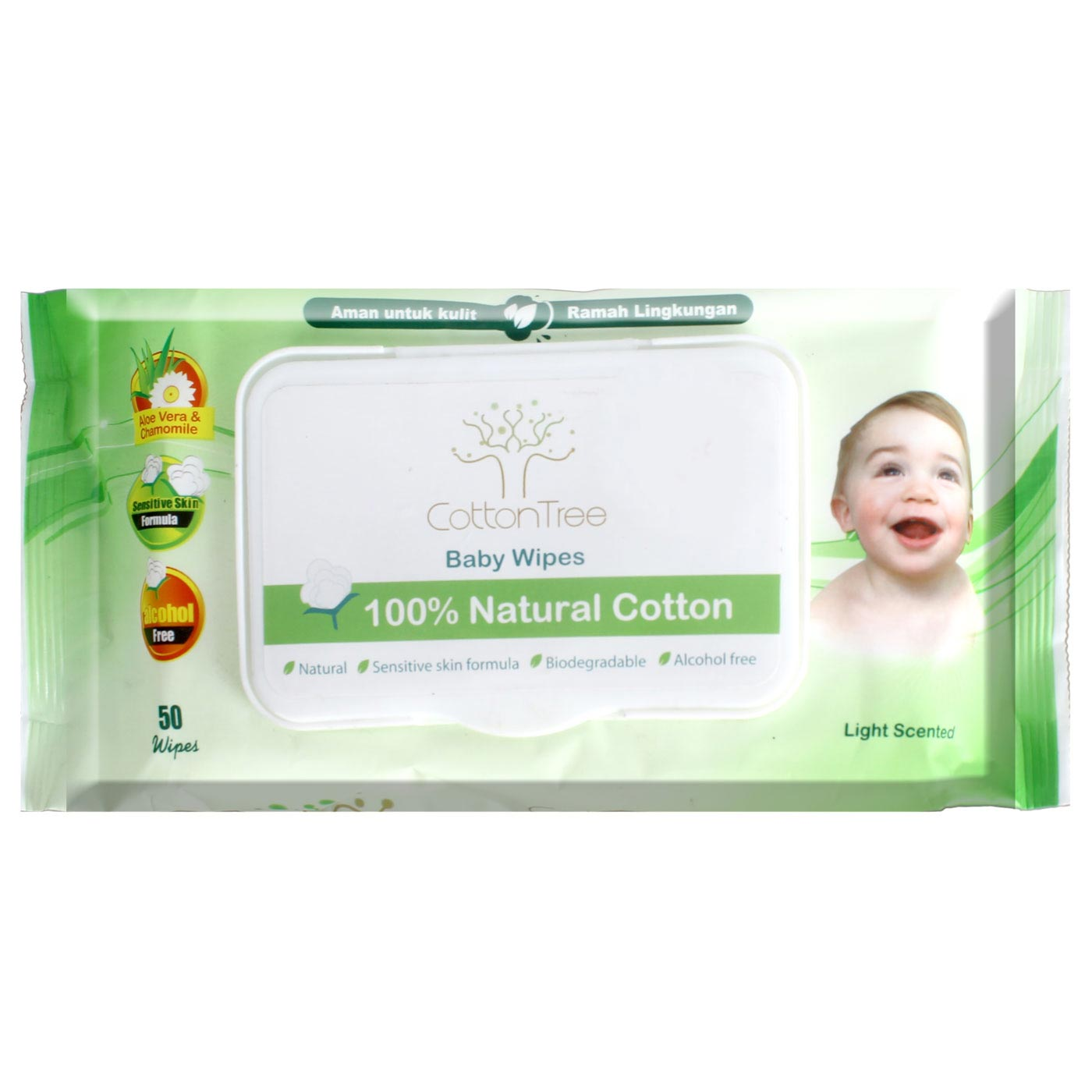 Baby Wipe CottonTree Scented 50 Pcs