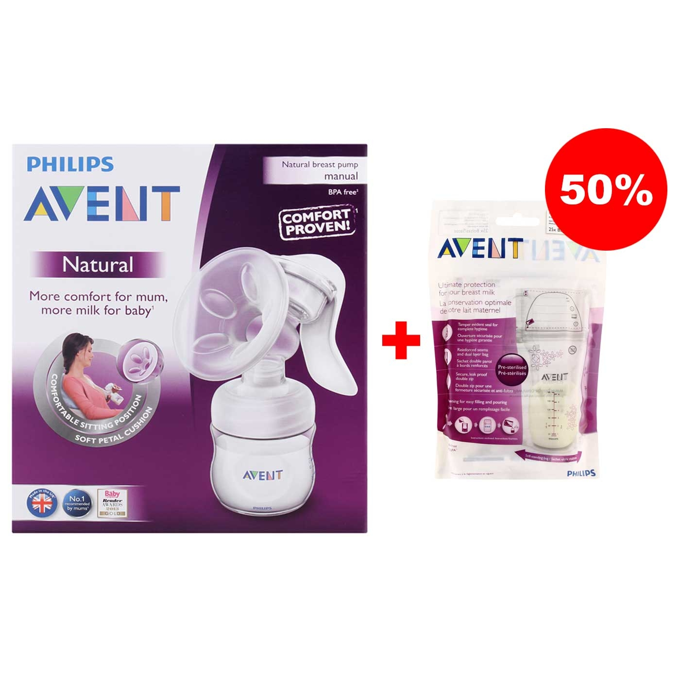 Philips Avent Natural Breastpump Manual Comfort Plus Bottle