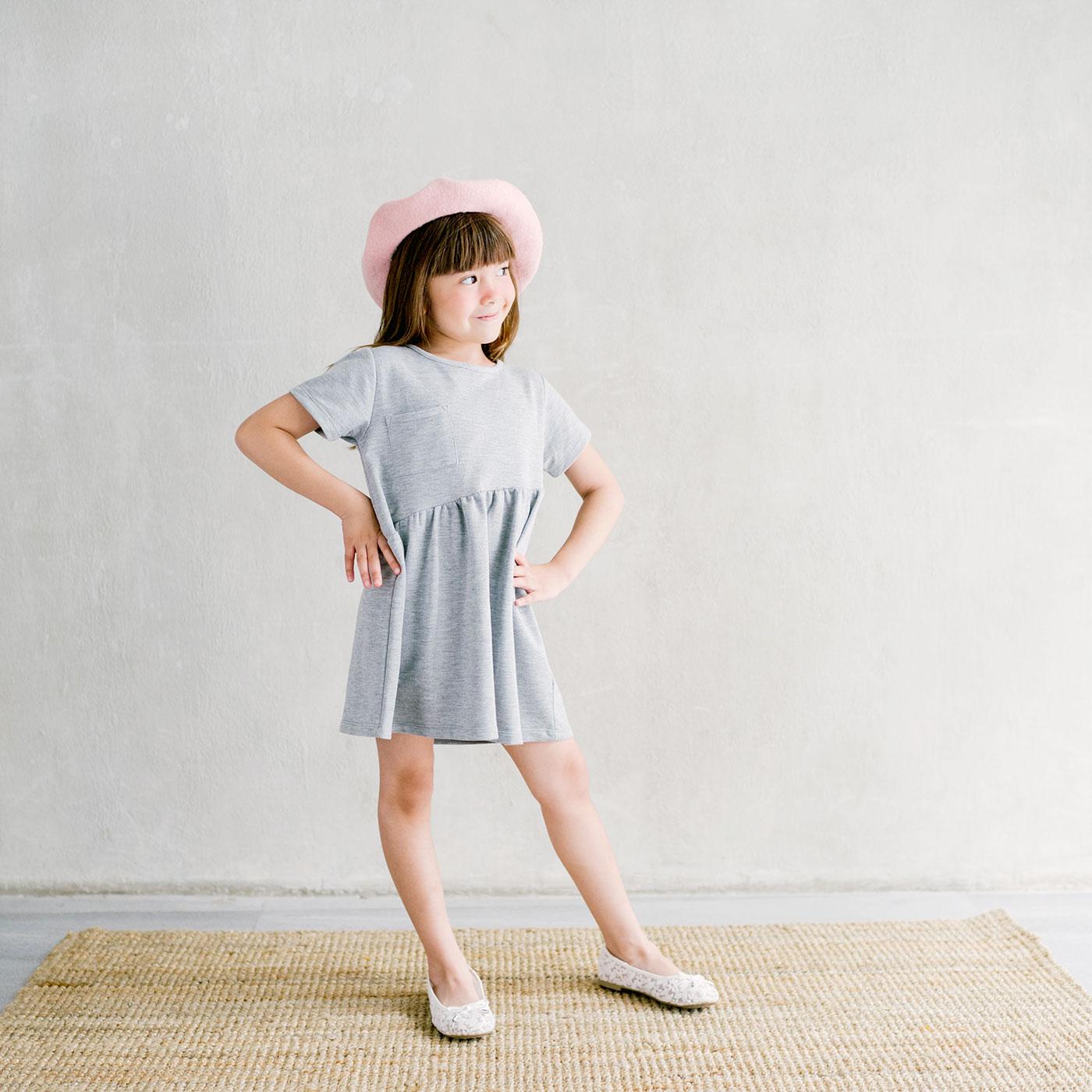 Piccola Sienna Dress with Back Ribbon Grey 5-6y 2