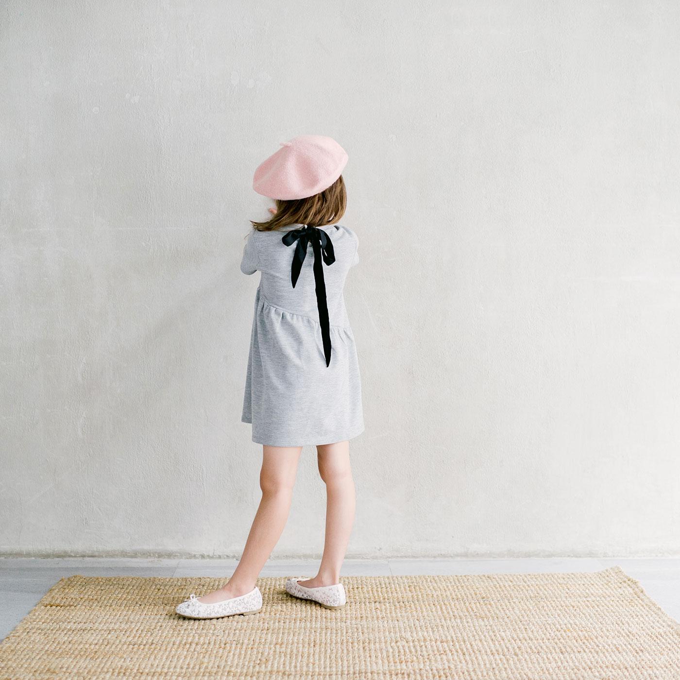 Piccola Sienna Dress with Back Ribbon Grey 5-6y 3