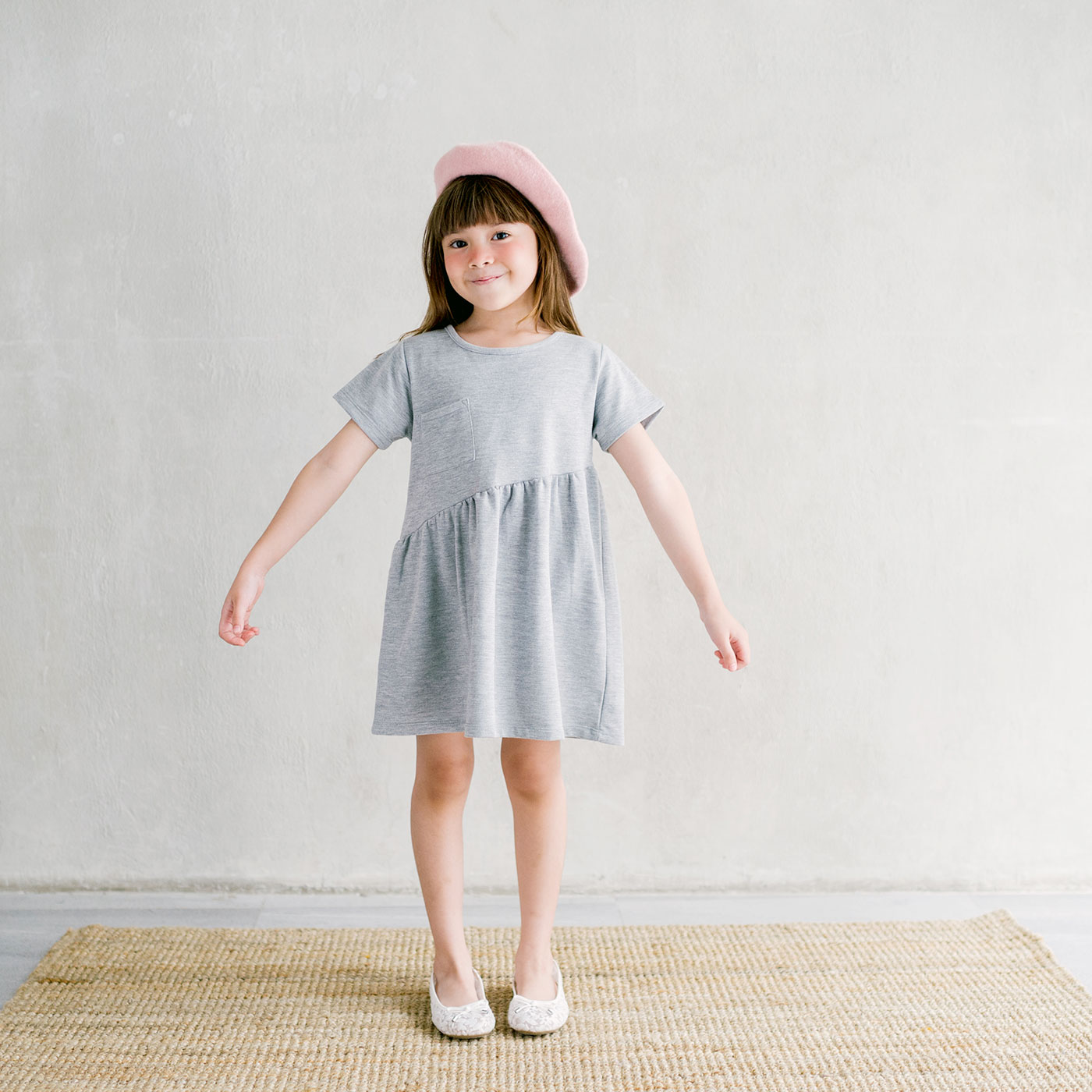 Piccola Sienna Dress with Back Ribbon Grey 3-4y 1