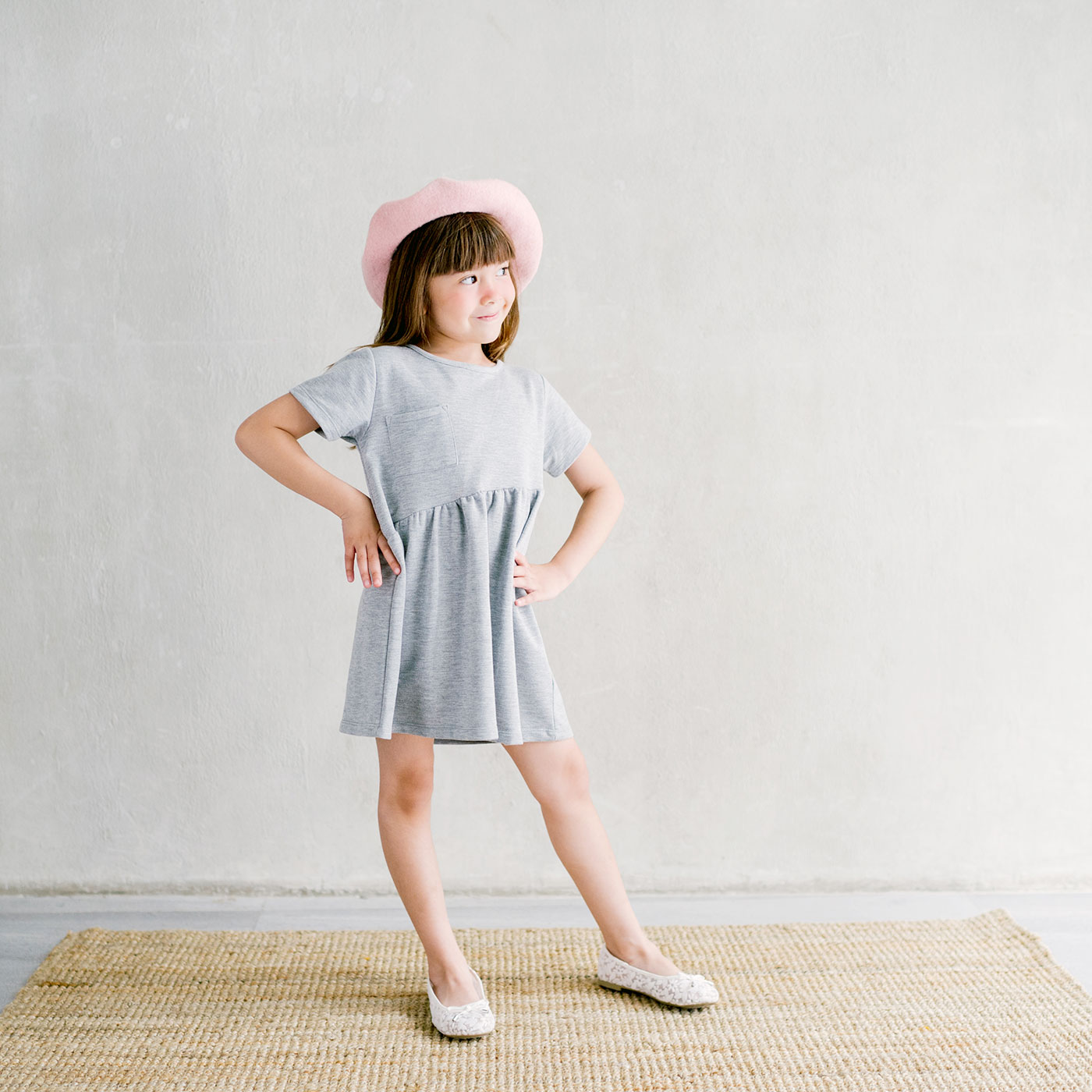 Piccola Sienna Dress with Back Ribbon Grey 3-4y 2