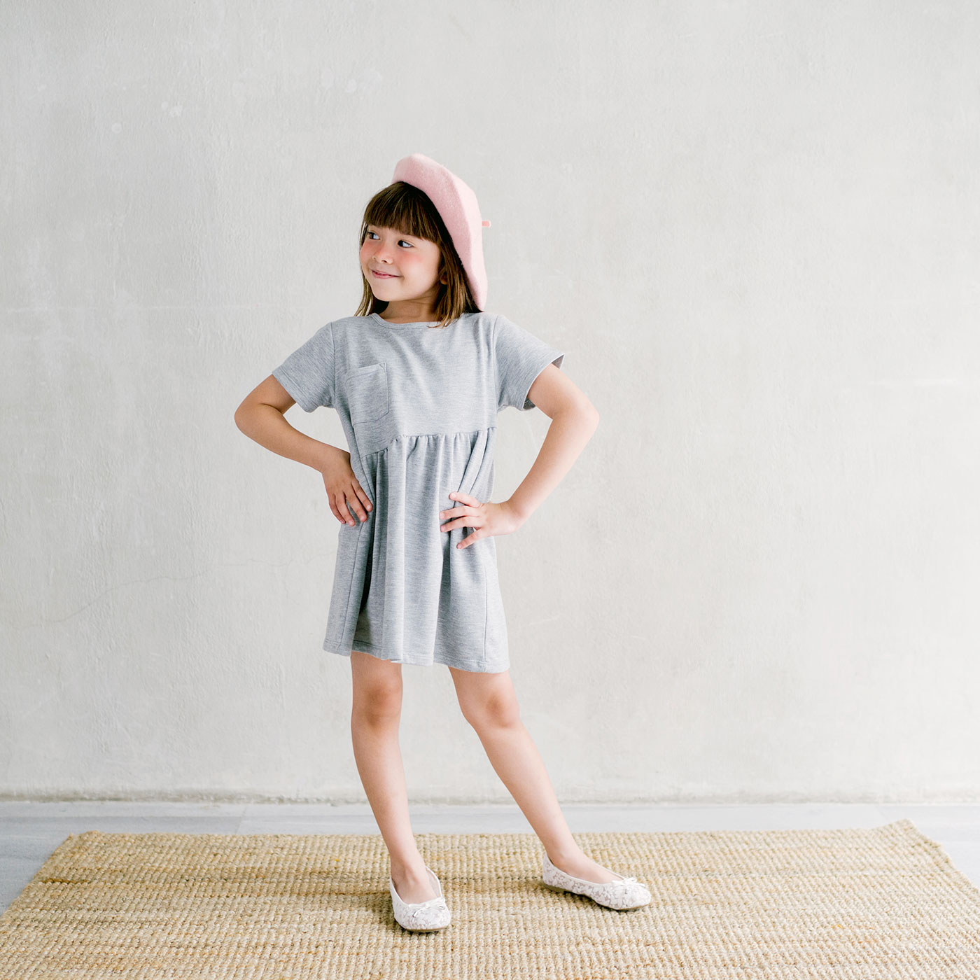 Piccola Sienna Dress with Back Ribbon Grey 3-4y 4