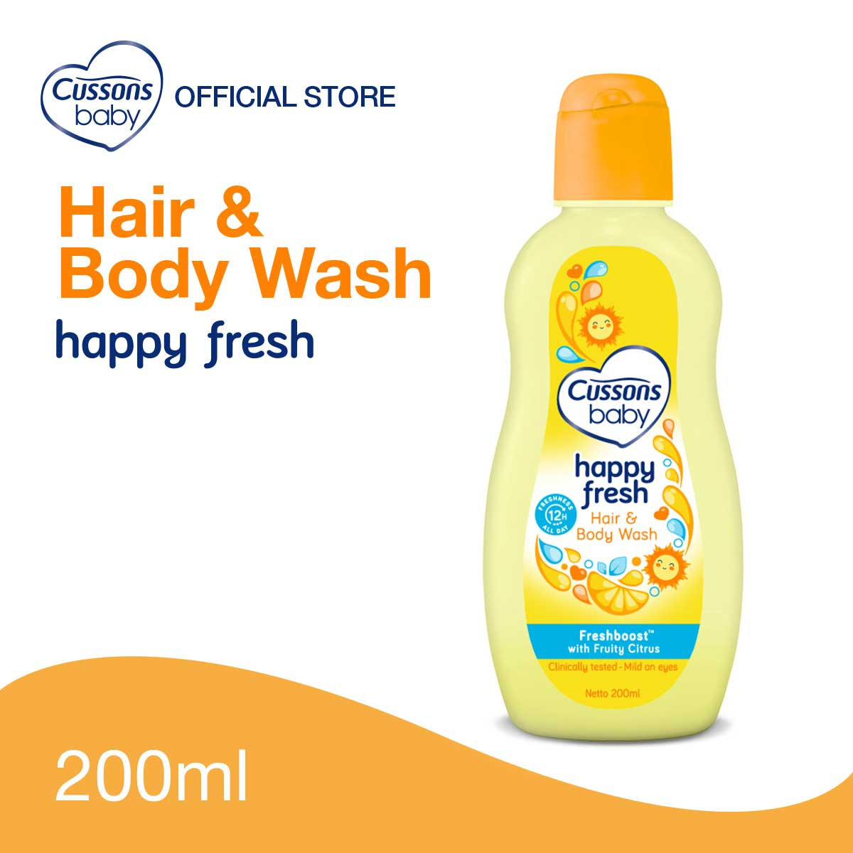 Cussons Baby Happy Fresh Hair & Body Wash 200ml