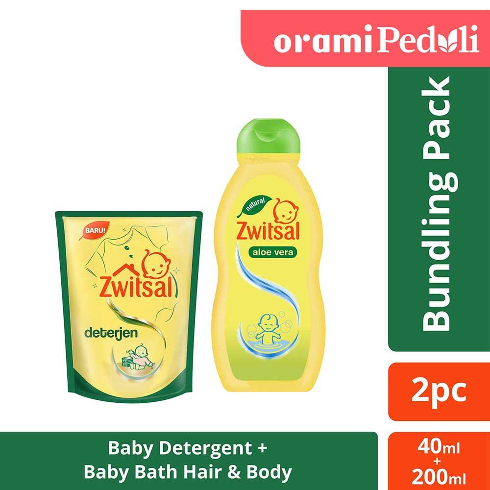 Zwitsal Baby Bath Hair And Body Aloe Vera 200ml + Free Zwitsal Detergent 40ml