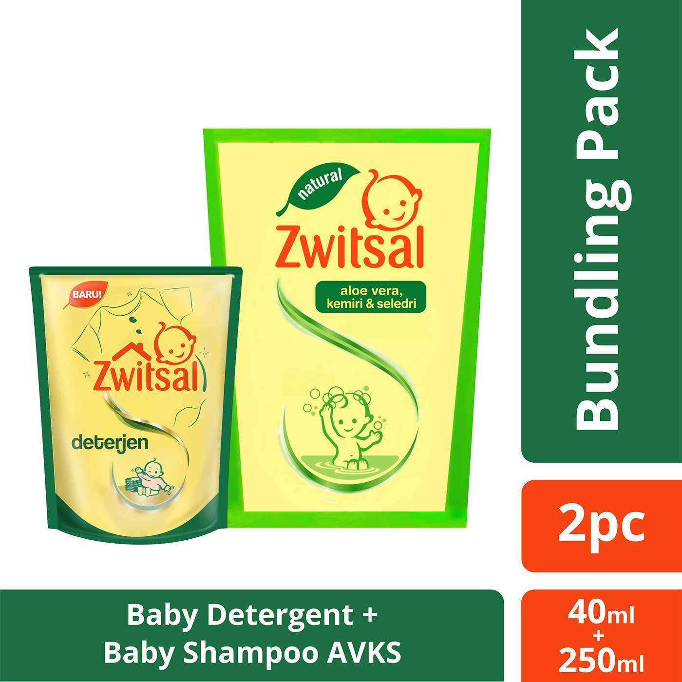 Zwitsal Baby Shampoo Aloe Vera Kemiri Seledri 250ml + Free Zwitsal Detergent 40ml