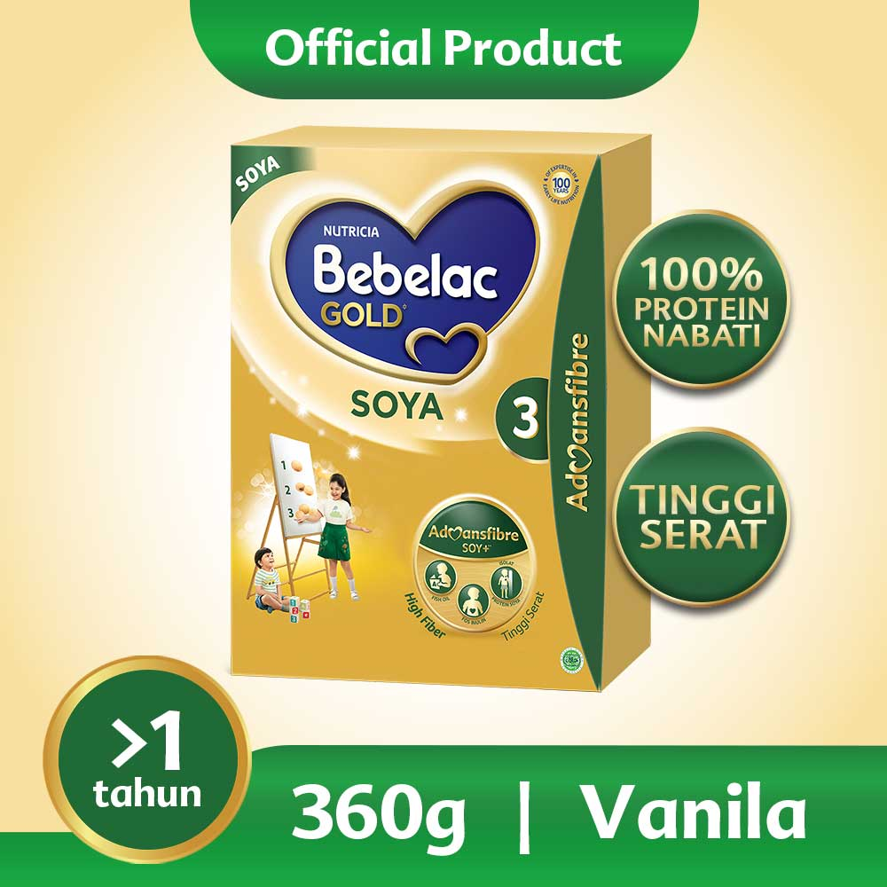 Bebelac Gold Soya 3 Vanila Formula Soya Bubuk 360 GR