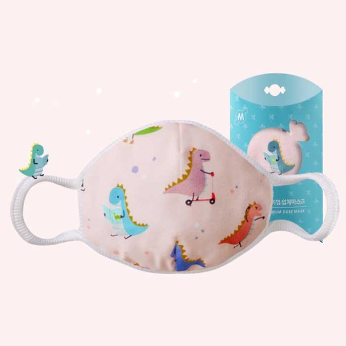 Down to Earth Korean Premium Kids Mask No 11 Motif Pink Dino Size M 1
