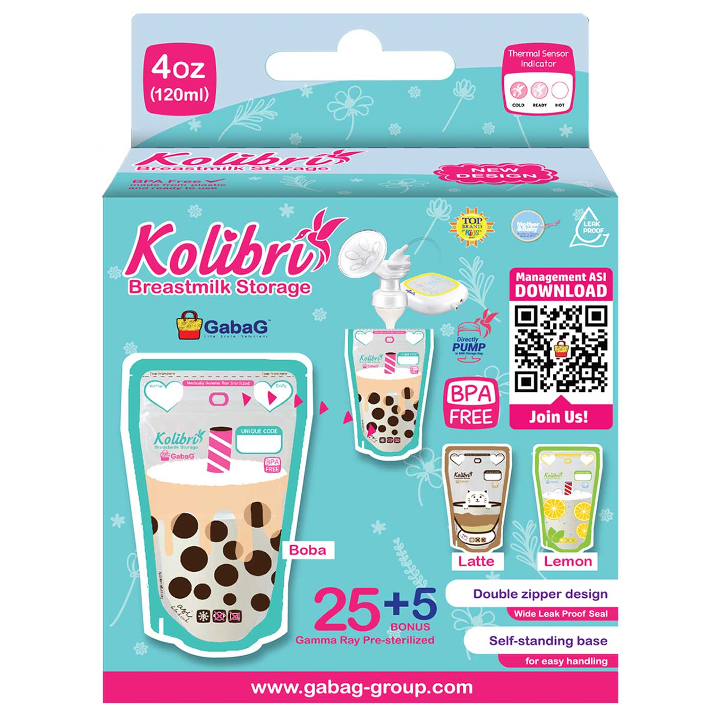 Gabag Kolibri Breastmilk Storage Bag 120cc Boba