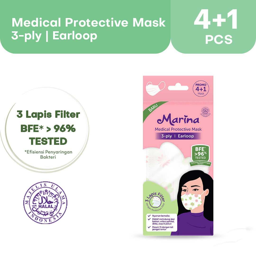 Marina Medical Protective Mask Earloop (3 ply)  Masker Medis