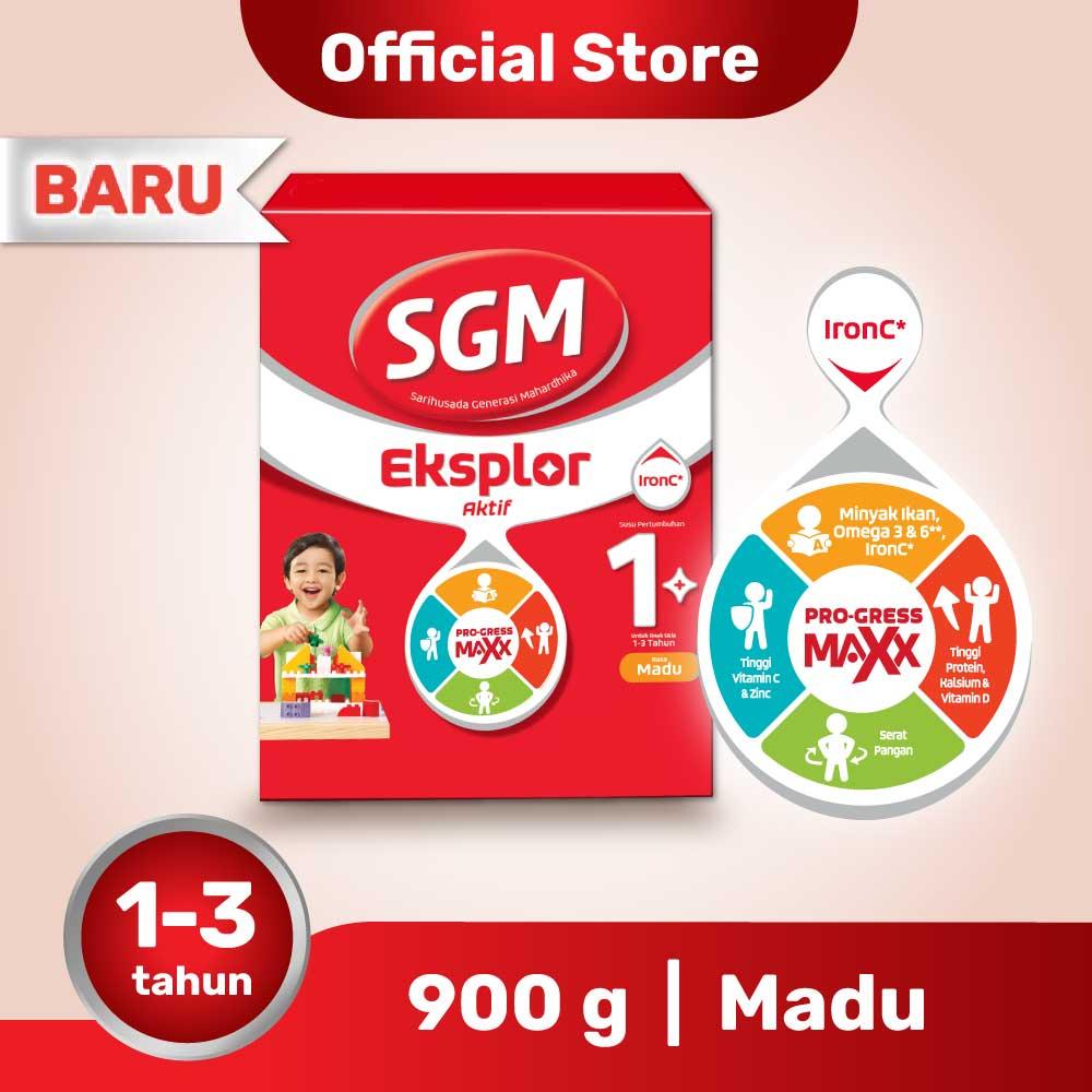 SGM Eksplor Aktif 1+ Pro-GressMaxx Madu Susu Pertumbuhan 900GR