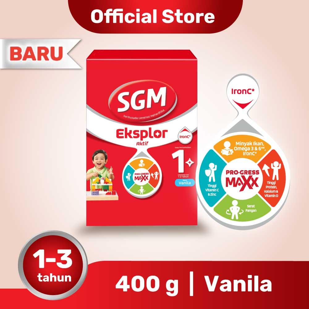 SGM Eksplor Aktif 1+ Pro-GressMaxx Vanilla Susu Pertumbuhan 400GR